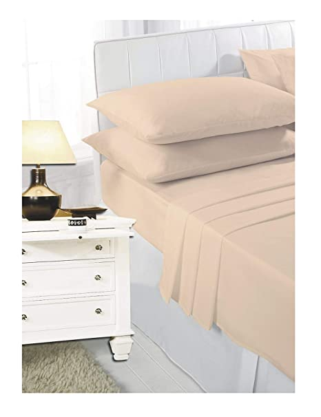 NEW LUXURY PLAIN DYED POLYCOTTON FITTED FLAT BED SHEET SINGLE DOUBLE KING SIZE  BEDDING (Mocha