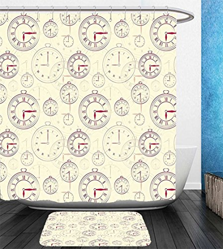 : Showercurtain Bathrug Bathtowel Handtowel Clock Decor Vintage Watches with Roman Digits Wallpaper Pattern Decorative Illustration Cream Maroon (Better Neon Clock)