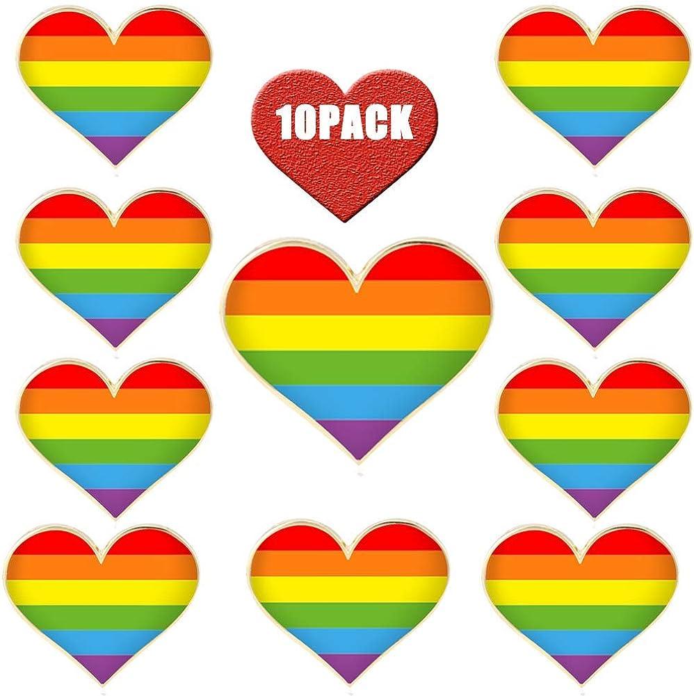 Rainbow Heart enamel pin NOS vintage glitter hippie LGBT Pride hat lapel bag 80s