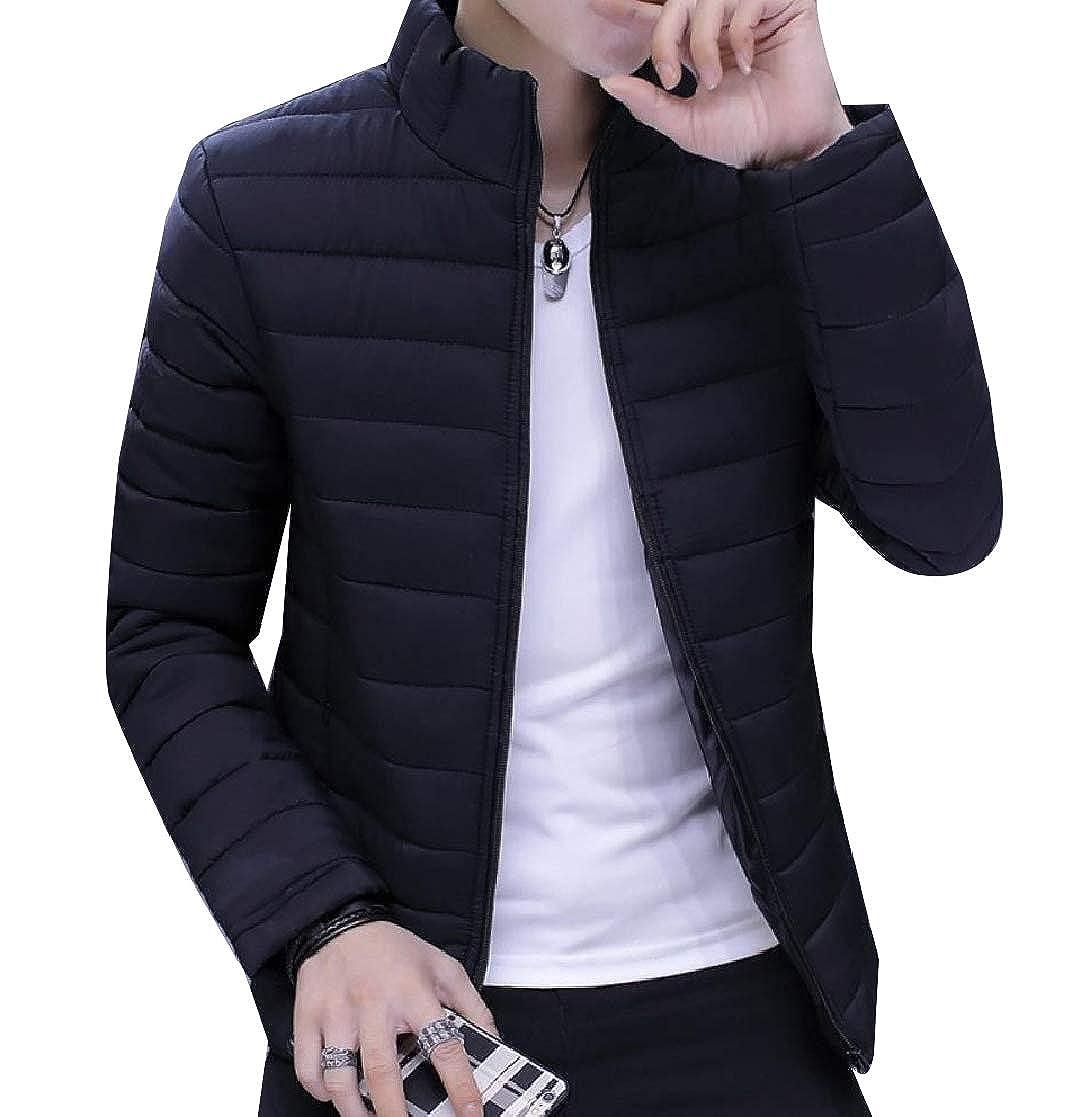 YUNY Men Slim Warm Padded Thickened Zip Puffer Short Parka Jackets Coat Black M