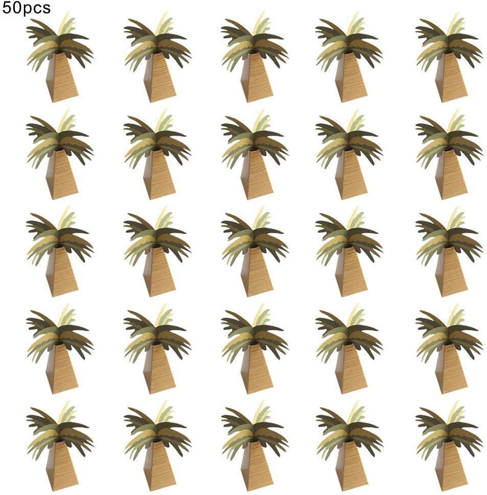 SANGDA Lot de 50 bo/îtes /à Bonbons en Forme de cocotier 3,5 x 3,5 x 10 cm