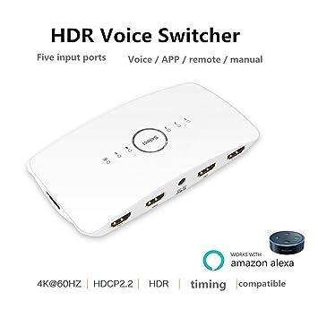 Smart Voice - Interruptor HDMI 4K 5 puertos 5 x 1 HDMI conmutador divisor caja soporte