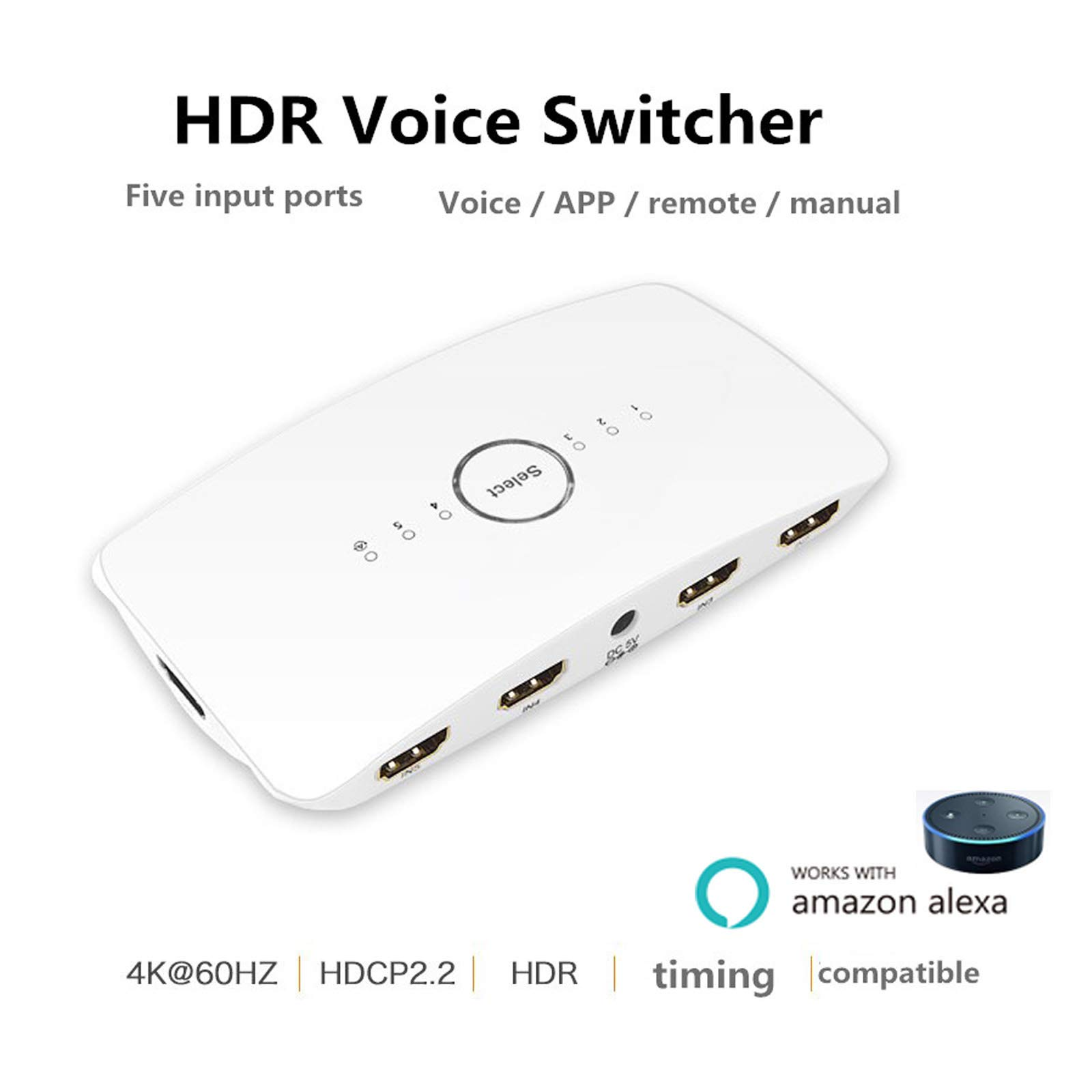 WiFi Smart Voice HDMI Switch 4K 5 Port 5x1 HDMI Switcher Splitter Box Support 4K@60HZ Ultra HD 3D Remote Control and Power Adapter for Amazon echo Compatible with Alexa, Wireless Cellphone APP Remote
