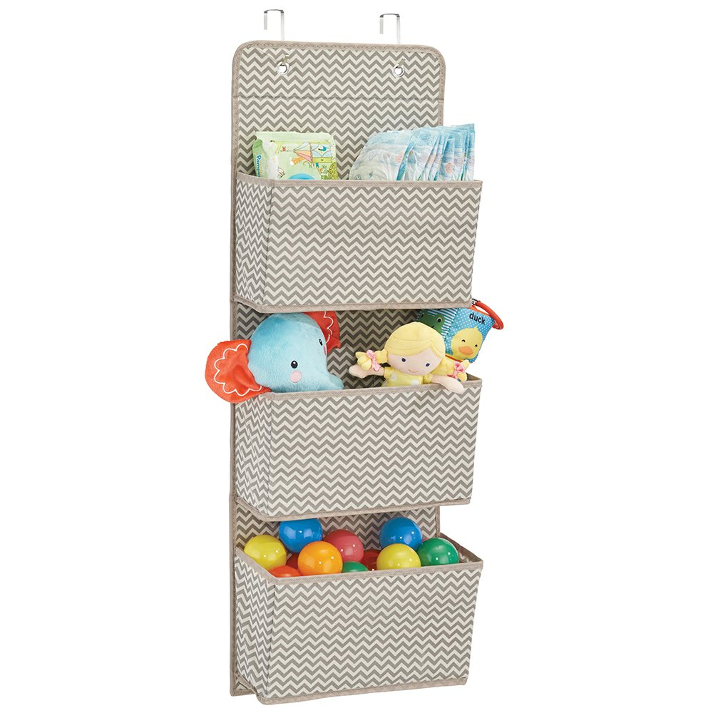 mDesign Soft Fabric Over The Door Hanging Storage Organizer with 3 Large Pockets for Child/Kids Room or Nursery - Fun Polka Dot Pattern, Hooks Included, Pack of 2, Light Gray with White Dots MetroDecor