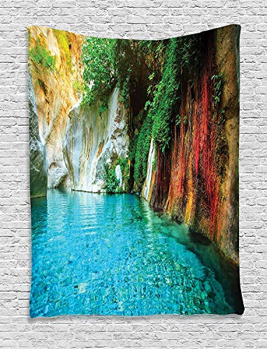 Plbfgfcover Design Lake House Isolated Natural Lagoon Cove Crystal Clear Water Lake Ivy Colorful Moss Rocks Sunshine Creative Home Decor Wall Hanging Tapestry