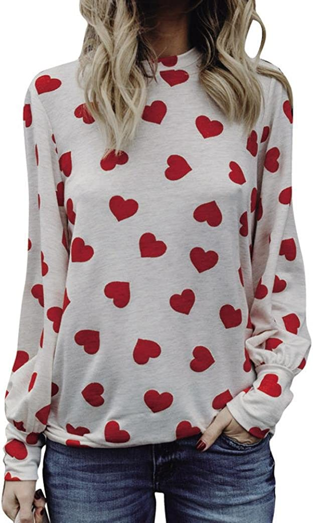 haoricu Valentines Day Shirts Women 2018 Love Printing T Shirt Long Sleeve Girls Pullover Tops