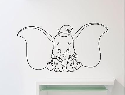 amazon com dumbo elephant wall vinyl decal disney cartoon flyingdumbo elephant wall vinyl decal disney cartoon flying elephant vinyl sticker home nursery interior kids baby