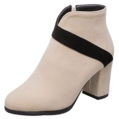 | RizaBina Women Thick Heel Boots Ankle Boots Zip