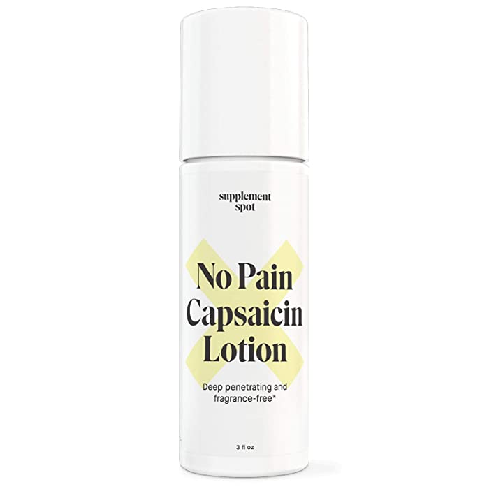 Supplement Spot No Pain Capsaicin Lotion | Capsaicin Cream for Temporary Pain Relief | Relieve Bone Pain, Joint Pain, and Muscle Pain | Deep-Penetrating, Fragrance-Free Pain Reliever Cream (3 fl oz)