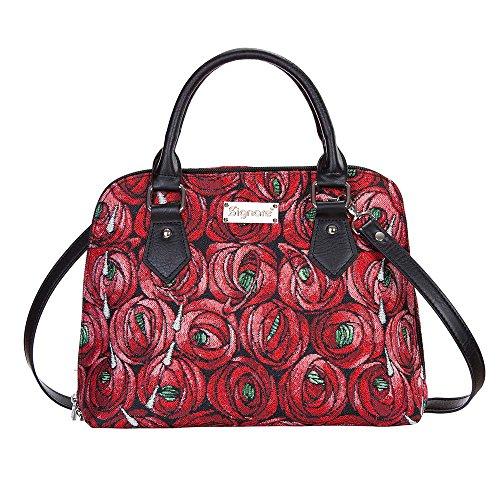 Red Mackintosh Rose and Teardrop Top-Handle Shoulder Bag by Signare/Floral Unusual Designer Art Summer Fashion Handbag/CONV-RMTD (Bag Teapot)