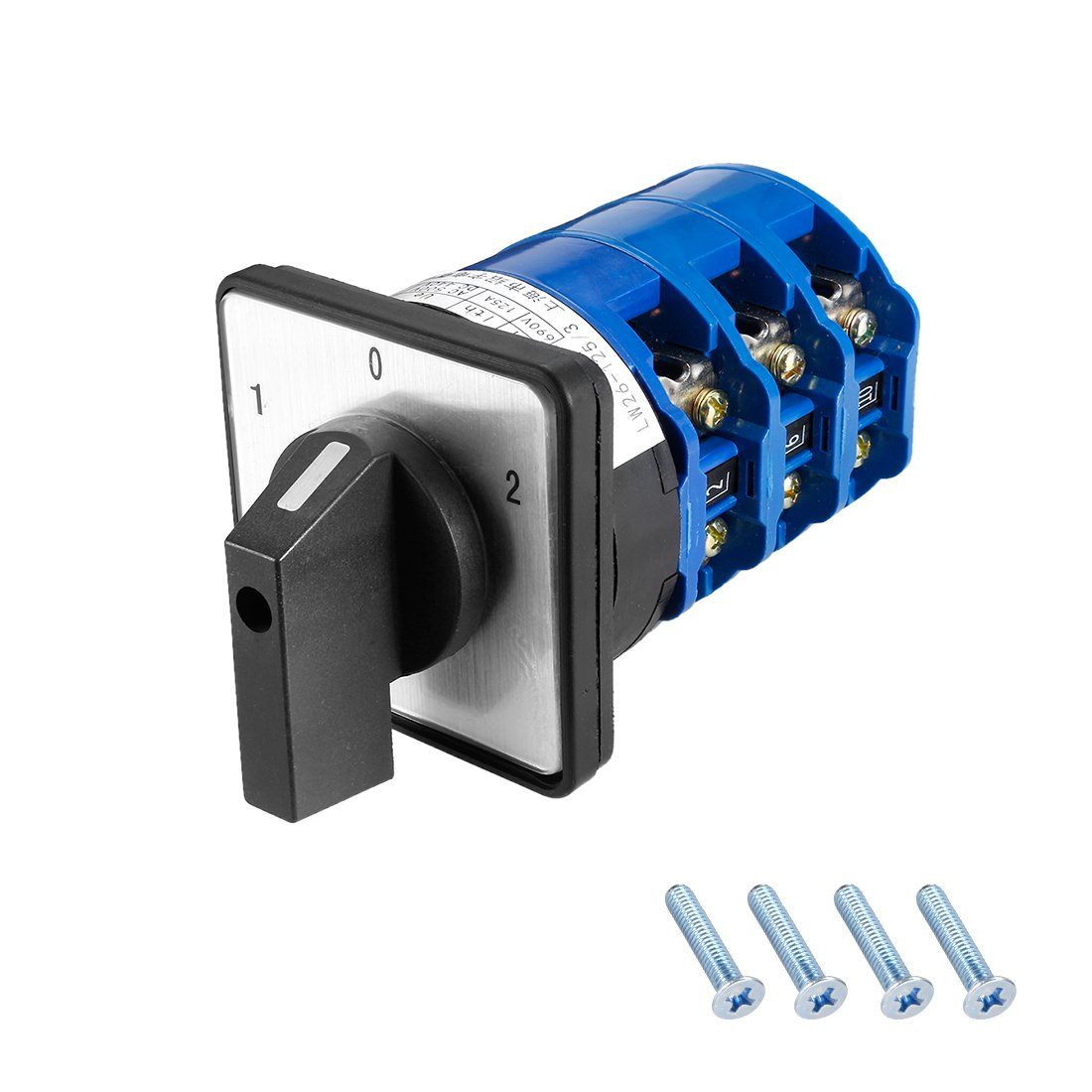 uxcell Changeover Switch 3 Position Rotary Selector Cam Switch Panel Mount 24 Terminal Latching Ui 690V Ith 125A