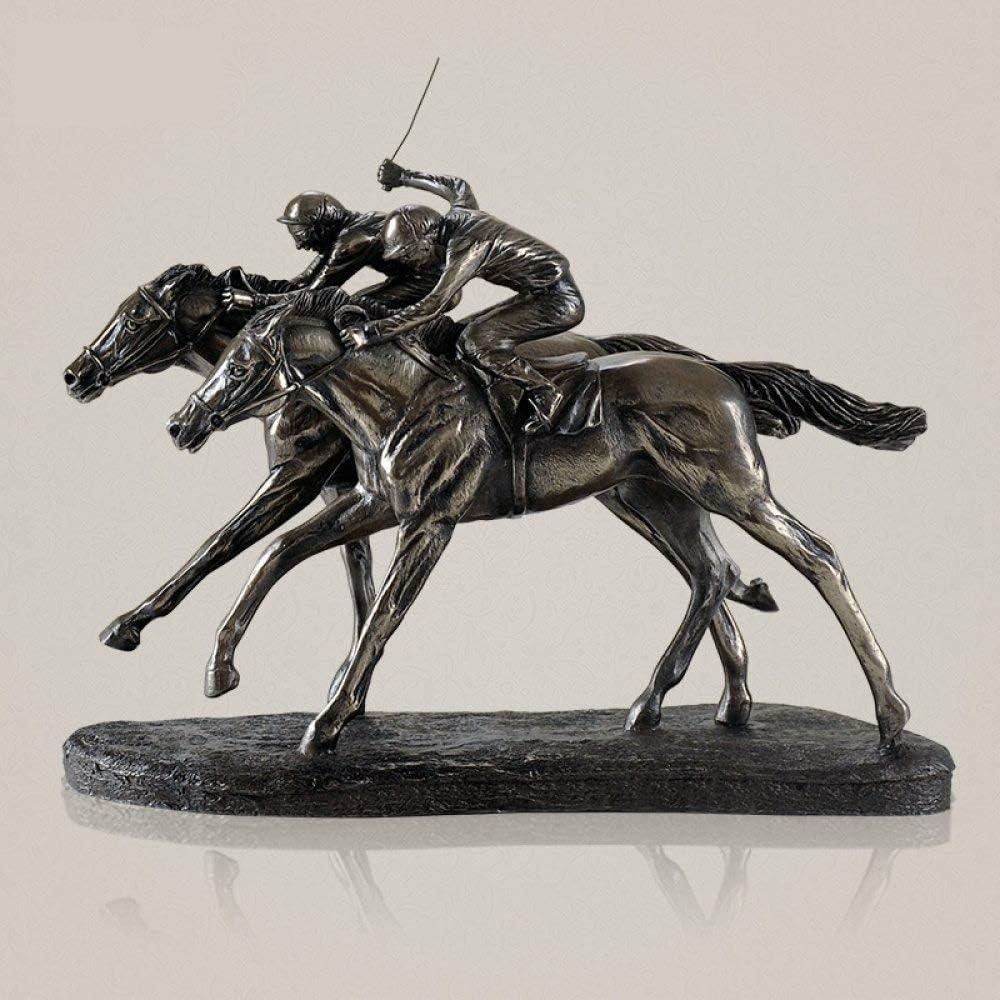 A/N Estatua Escultura clásica de Carreras de Caballos Estatua de Resina y Cobre Hecha a Mano Jockey Sports Memento Decoración Presente Arte y Adorno Artesanal