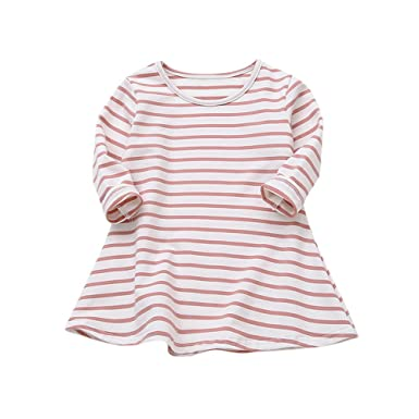 2026c3b86 Hatoys Kids Baby Girls Candy Color Long Sleeve Striped Princess Casual  Toddler Dress Dresses (4T