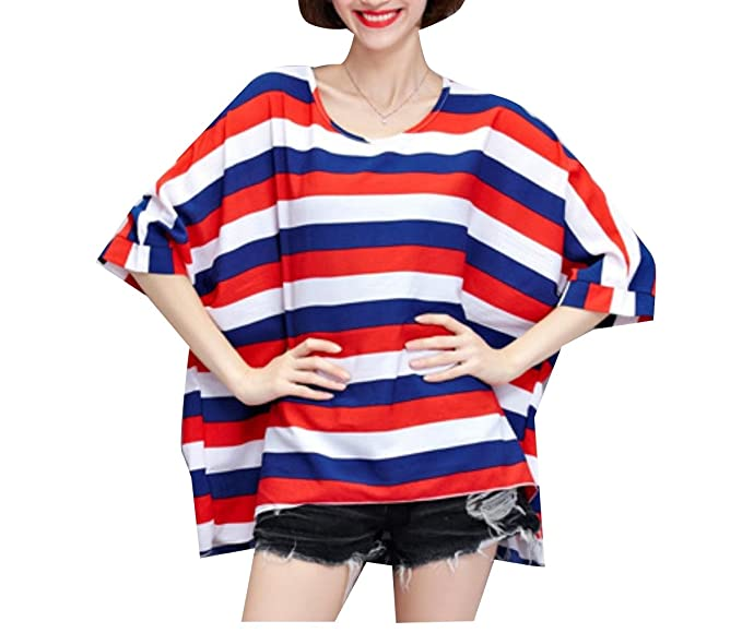 a531727f00 Againg Women Plus Size T Shirts Striped Baggy Slim Fitting Tops Tunic  Blouses Red OS