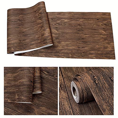 (WPCBAA 3D Three-Dimensional Imitation Wood Grain Wallpaper Retro Nostalgic Non-self-Adhesive Imitation Wood Restaurant Waterproof and Wearable Wallpaper (Color : Amber))