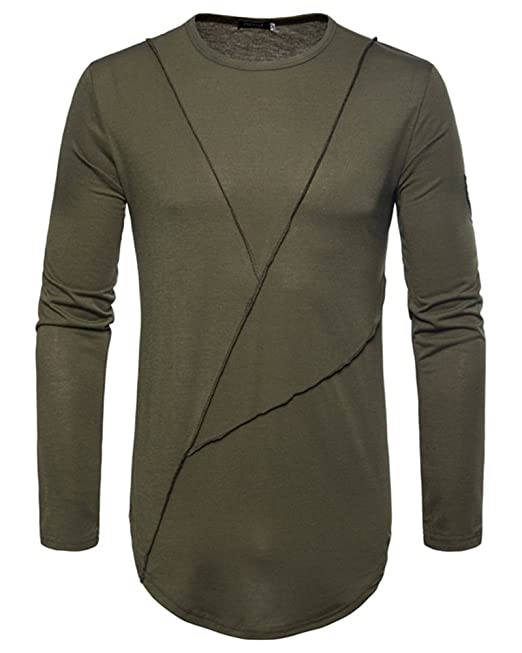 Qitun Camisetas Oversize Hombre Manga Larga Shirts Delgada del O-Cuello Ocasional Sólido Blusa Pullover