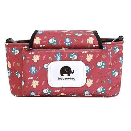 Organizador para carrito de bebé, bolso para cochecito, bolso para pañales universal multifuncional con cremallera para silla de paseo, accesorio para ...