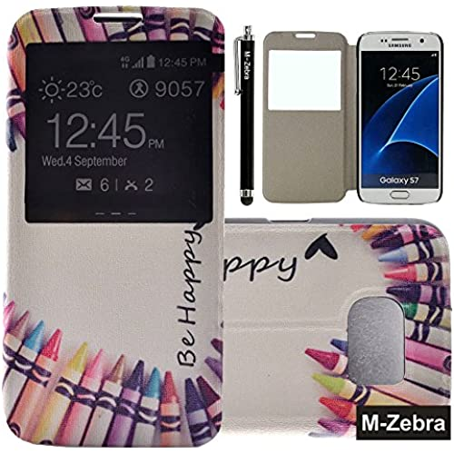Galaxy S7 Case, M-Zebra Brand New Fashion Painting PU Flip Leather Window View Design Display Caller ID Time Table Case Cover For Samsung Galaxy S7 Sales