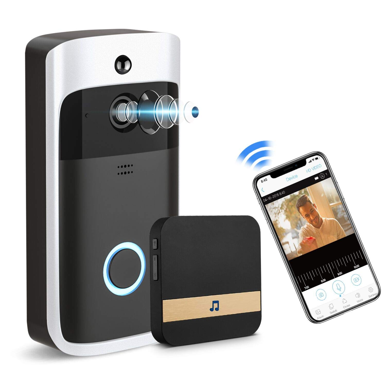 GJT Smart Video Doorbell Wireless Home WIFI Security Camera With Indoor Chime, 8G SD Card, Free Cloud Service, 2 Batteries, 2-Way Talk, Night Vision, PIR Motion Detection, APP Control for IOS Android by GJT