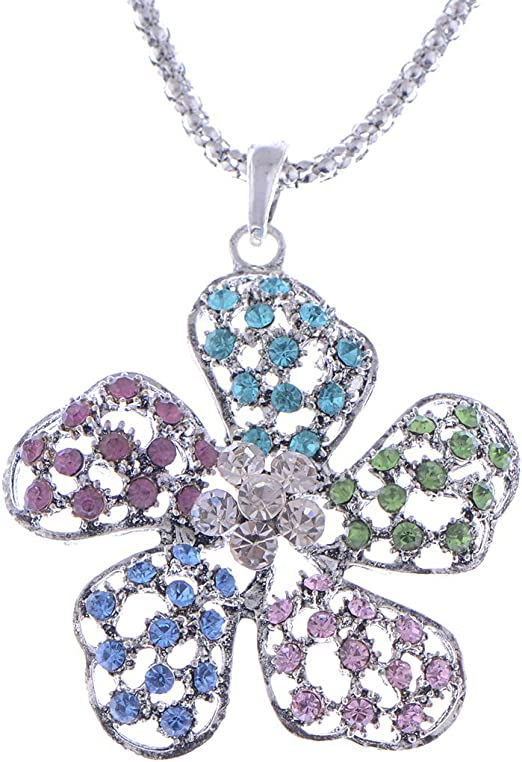 Colorful heart necklace crystal Pastel colors