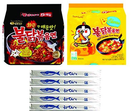 Samyang Spicy Chicken Ramen, BULDAK & CHEESE Flavors, Pack of 10, With 5 Fish Logo Chopsticks (BULDAK - (Five Cheese)