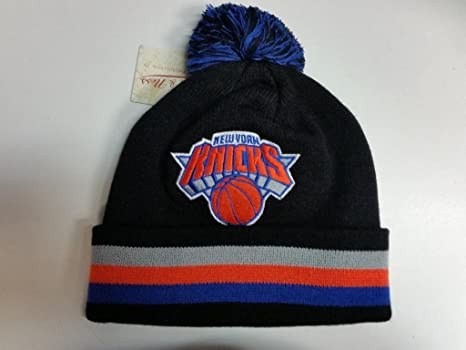 a6ceaafd Image Unavailable. Image not available for. Color: New York Knicks Blackout  Cuffed Pom Knit Beanie ...