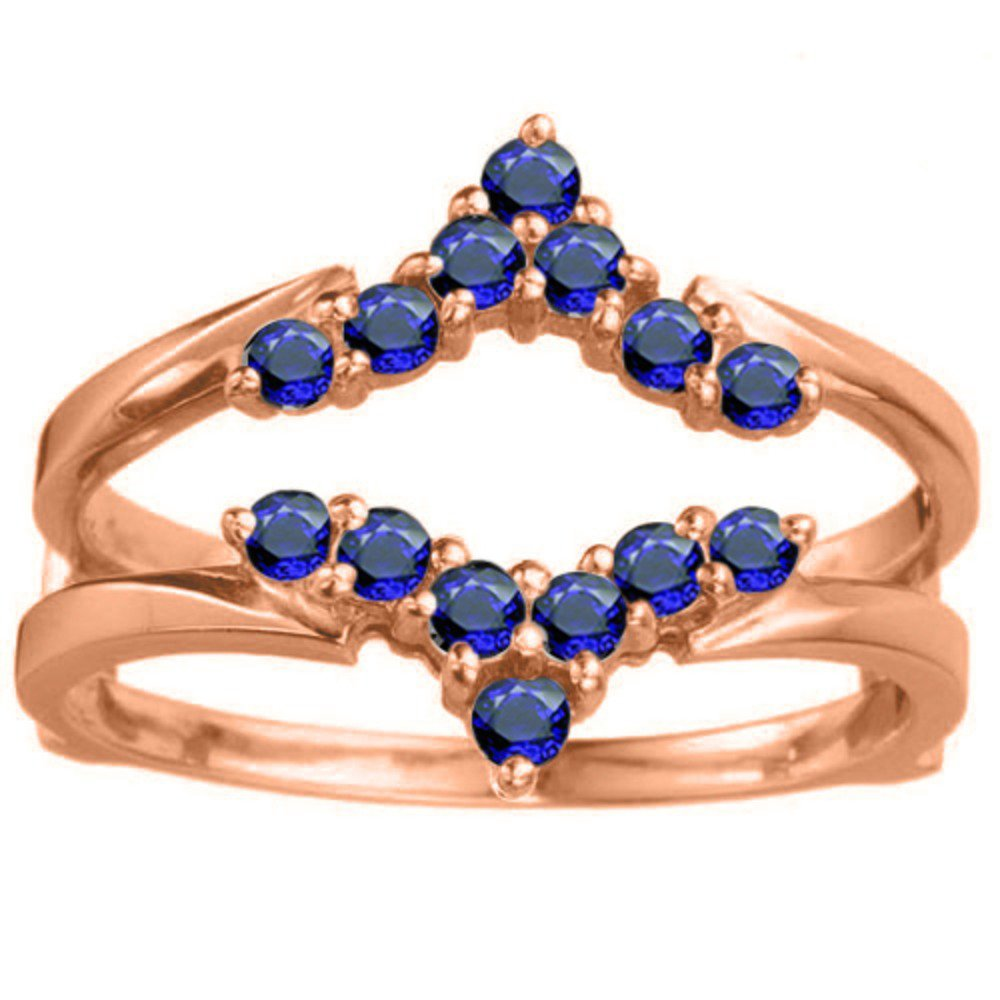 1/3 ct. Sapphire Genuine Sapphire Delicate Style Chevron Style Ring Guard in Rose Gold Plated Sterling Silver (0.33 ct. twt.)