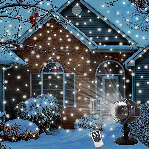 LED Snowfall Projector Lights Christmas Snowflake Projector Lamp with Wireless Remote Indoor Outdoor Waterproof Snow Falling Landscape Projection Light for Halloween Party Wedding Garden Decorations