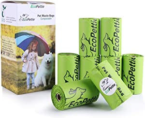 EcoPettie Pet Waste Bags Compostable - Dog Poop Bags Biodegradable - Dog Waste Bags Super Thick - Poop Bags for Dogs 8 Rolls 80 Counts - OK-compost and EN13432 Certified as 100% Biodegradable