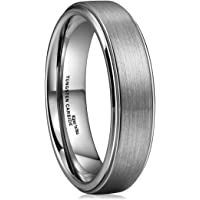 King Will Basic Unisex 6mm Tungsten Carbide Wedding Band Ring Brushed Center Polished Comfort Fit