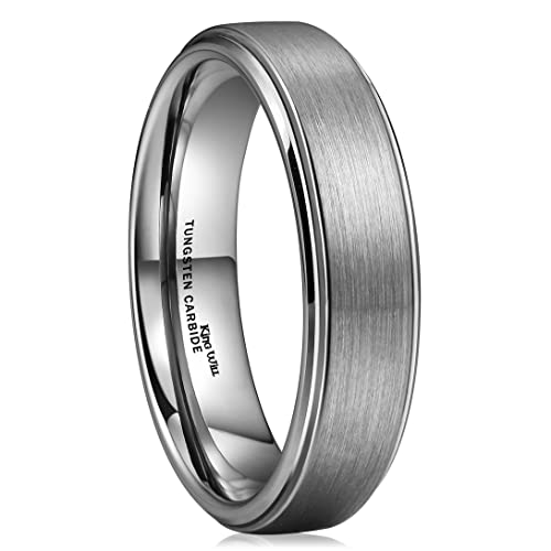 King Will Basic 6mm Tungsten Carbide Wedding Ring Brushed Center