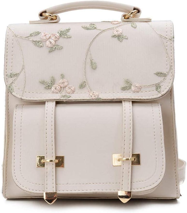 School Backpack Teenage Girls Leather Women Shoulder Bag Backpack Floral Embroidery Design Rucksack black 21cm 10cm 20cm