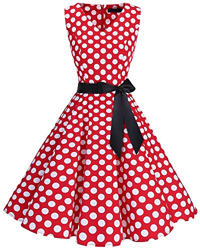 Bridesmay Women's V-Neck Audrey Hepburn 50s Vintage Elegant Floral Rockabilly Swing Cocktail Party Dress Red White Dot 2XL