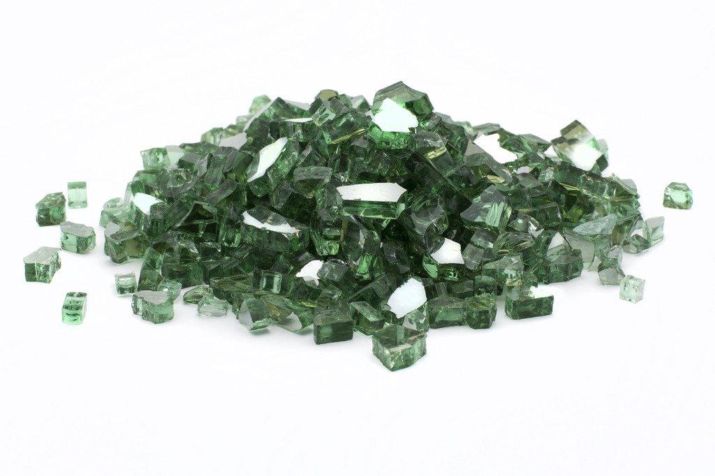 Dragon Glass DFG25-R07M Green 1/2'' 25 lb Reflective Fire Glass by Dragon Glass