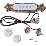 Kmise MI0300 Bronze Pearl Guitar Sound Hole Pickup Prewired Wiring Harness for 4 & 6 String Cigar Box