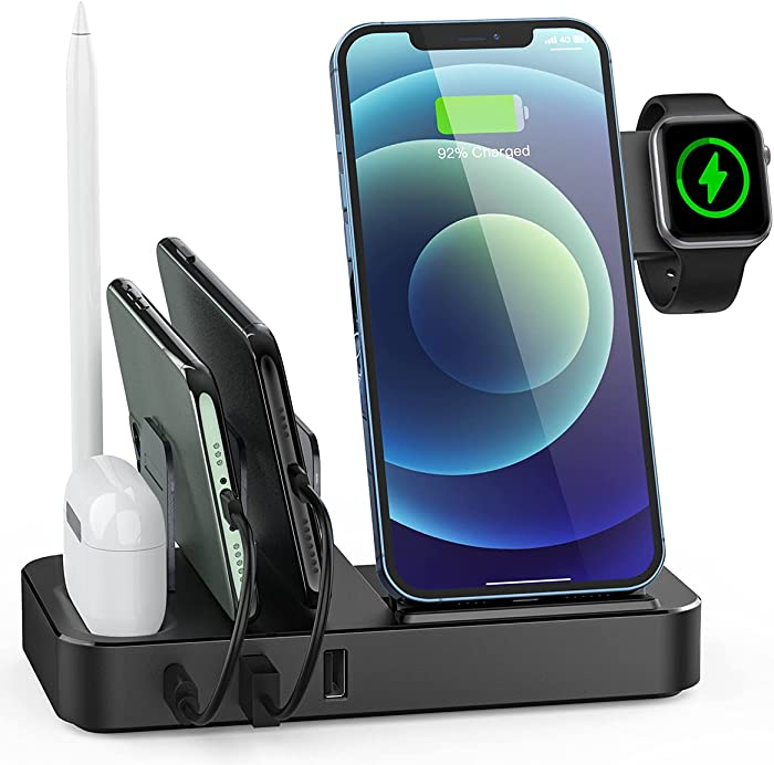 Tiitarn Wireless Charging Station for Multiple Devices, 7 in 1 Fast Wireless Charger Stand with 2 USB and PD Ports, Desktop Charging Dock for iPhone iPad AirPods iWatch Apple Pencil Android Samsung