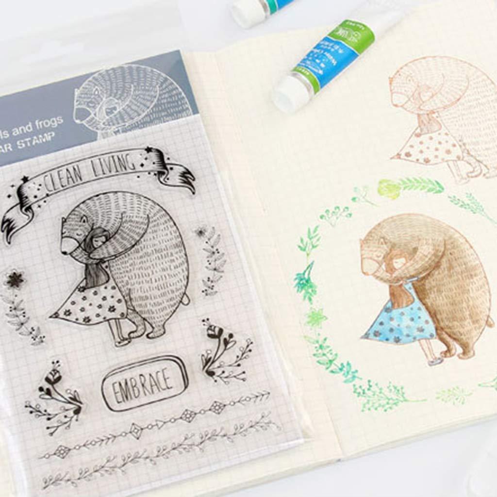 Bogji DIY Silicone Trasparente Timbro Foglia Trasparente Timbro Scrapbooking Album Foto DIY Natale Little Hug-A