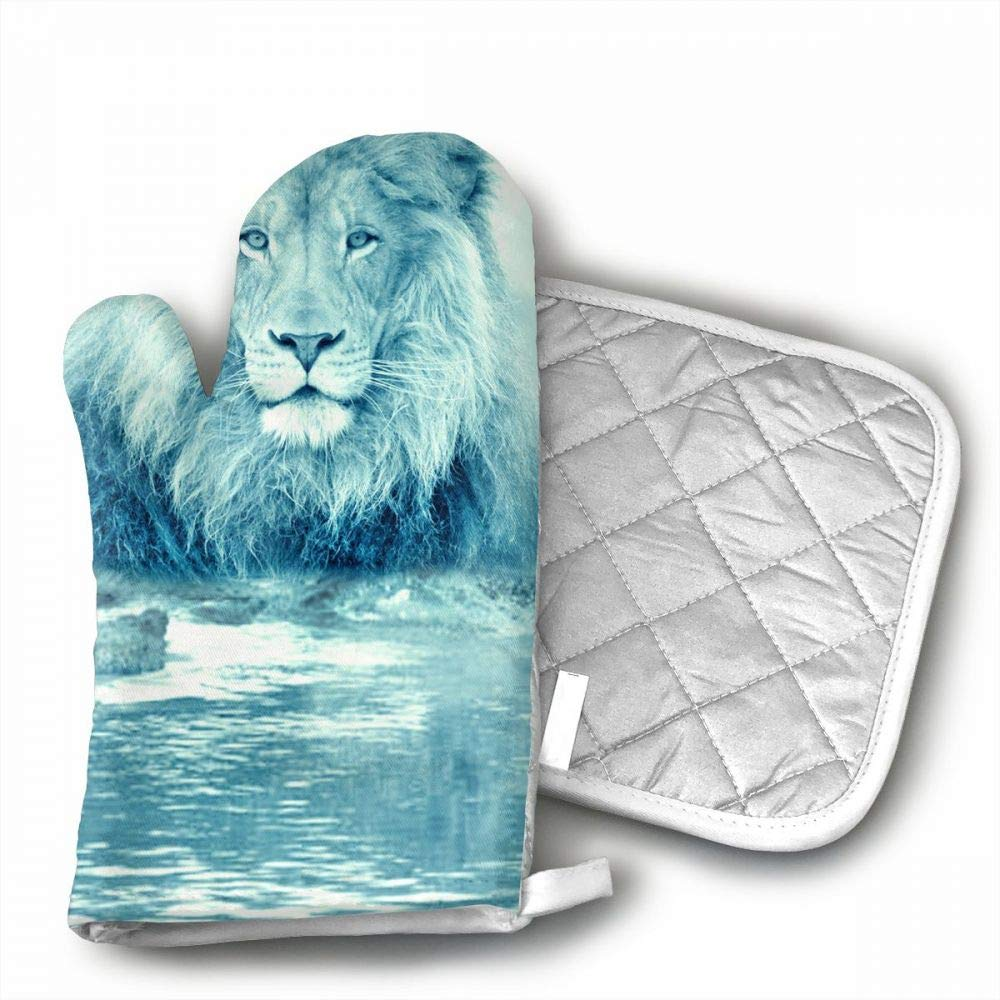 Nuytzs90sd Funny Lions Animals Oven Mitts Cooking Gloves 480 F Heat Resistant, Non Slip Grip Pot Holders Kitchen Oven BBQ Grill Fire Pits Cooking Baking