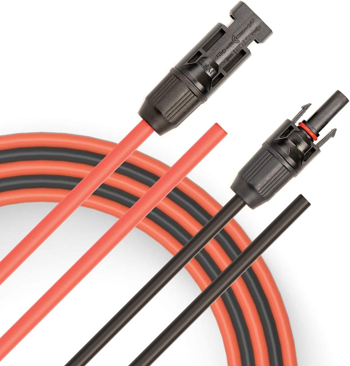 6mm/² Female and Male Connector Compatible with MC4 Solar Extension Cable with PV Compatible 30FT Red + 30FT Black JYFT 10AWG
