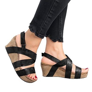 c2fe5476312 Womens Wedge Sandals Gladiator Platform Summer Shoes Sexy Cross Straps