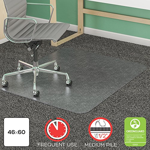 Deflecto SuperMat Clear Chair Mat, Medium Pile Carpet Use, Rectangle, Beveled Edge, 46 x 60 Inches (CM14443FCOM) by Deflecto (Image #1)
