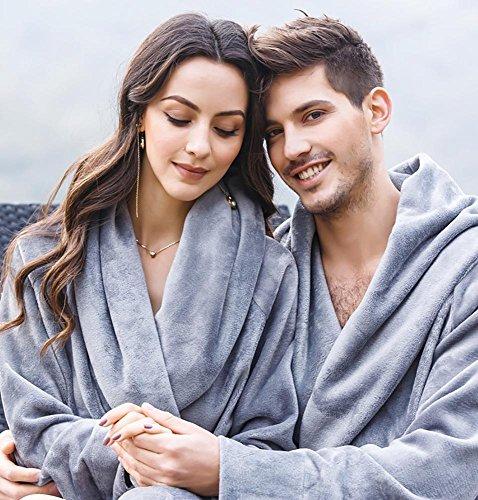 Da Inverno Addensare Camicia Morbido Flanella S xl Donne Uomini Grey For Accappatoio Chimono O Notte Men Loungewear EnqfwX