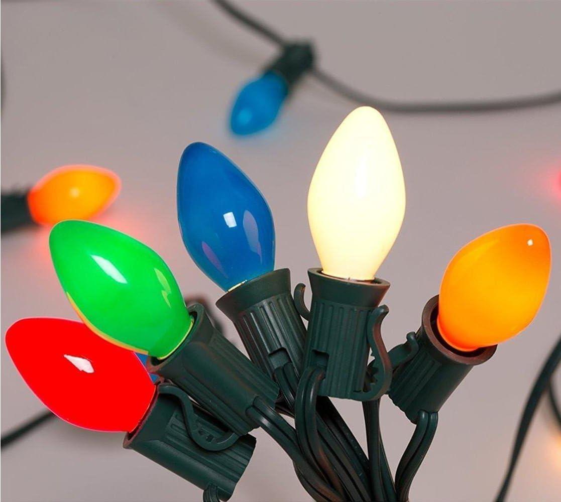 25Ft Outdoor C7 Multicolored Ceramic Christmas Lights String Set – Indoor Outdoor Christmas Light String – Christmas Tree Lights – Hanging Christmas Lights – Outdoor Patio String Lights – Green Wire