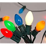 SUNSGNE 25Ft Incandescent C7 Ceramic Multicolor Outdoor and Indoor String Light for Holidays,Christmas,Prom,Party…