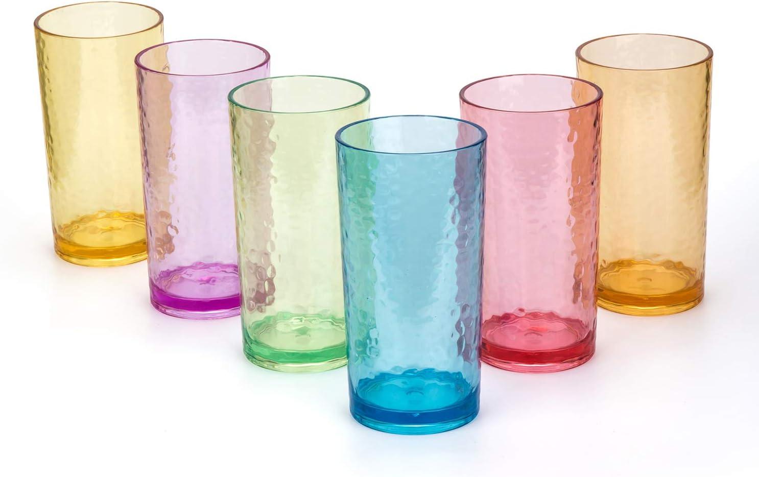 20-ounce Acrylic Glasses Plastic Tumbler, set of 6 Multicolor - Hammered Style, Dishwasher Safe, BPA Free