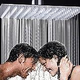 10 pouces Tête de douche pluie carrée de luxe en acier inoxydable poli ultra brillant effet miroir chromé