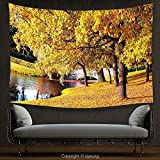 House Decor Tapestry Nature Beautiful Autumn Forest in City Park Saint Petersburg Russia Rural Scenic Yellow Brown Green Wall Hanging for Bedroom Living Room Dorm