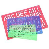 Meetory 4pcs Lettre Numéro Pochoir Gabarit de dessin, plusieurs tailles, couleurs aléatoires