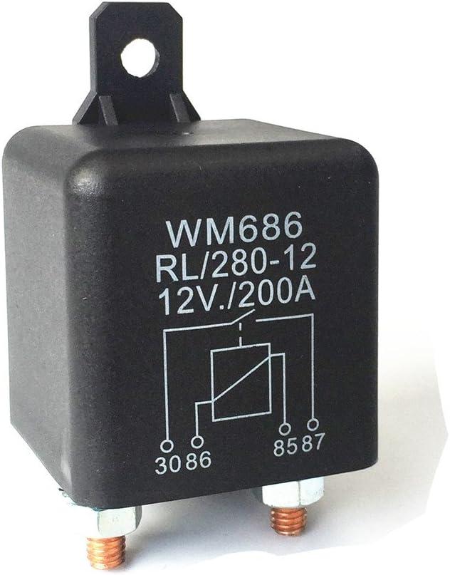Qiorange Dc 12v Relais Batterie Trennrelais 12v 200a Spitzenlast Für Pkw Lkw Kfz 12v 200a Auto