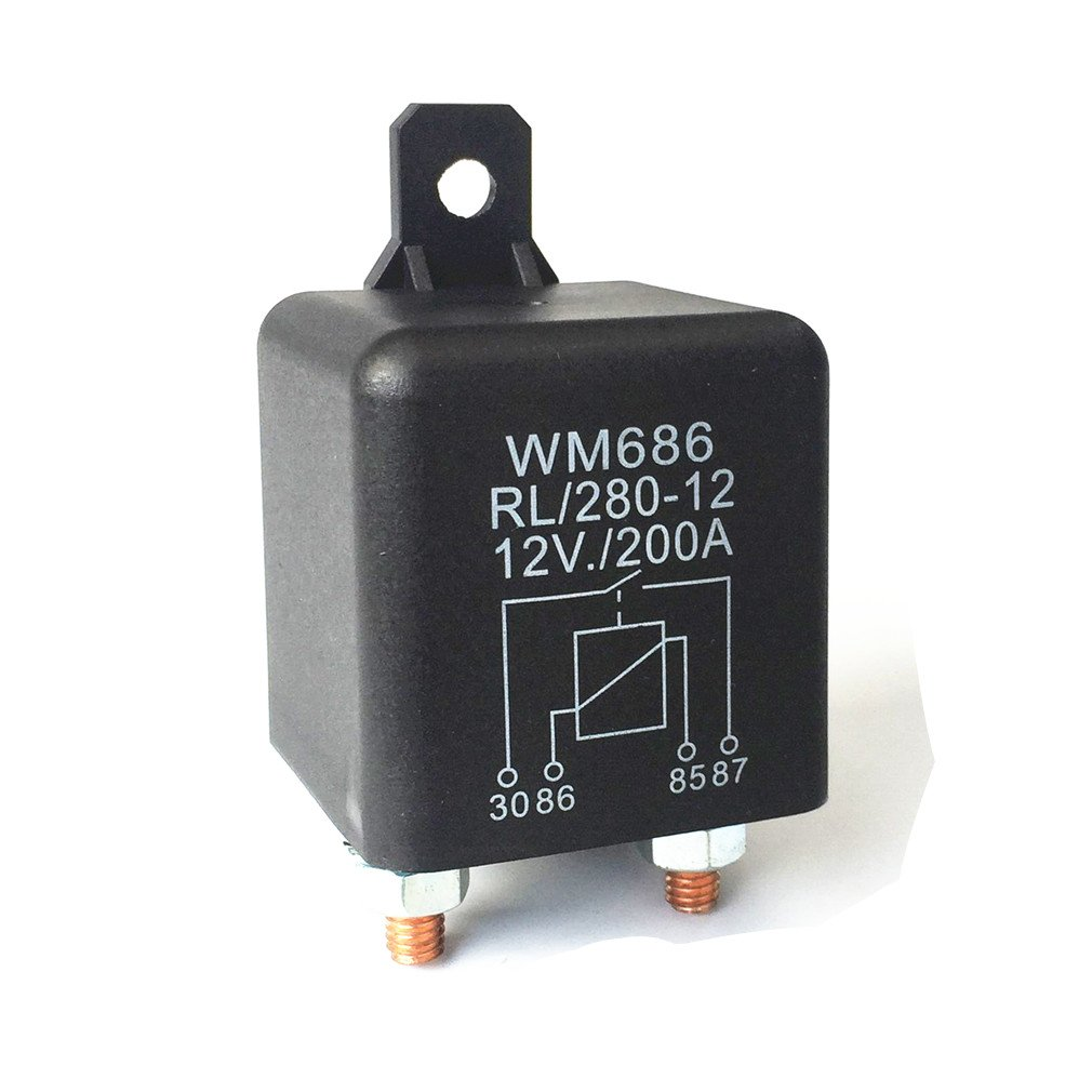 Qiorange Car Relay 12V 200A 4 Pin Black Box Battery for Automobile Heavy Vehicle Truck Excavator Van Boat (12V/200A) b813